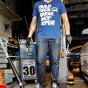 Showoff Imports V-Neck Shirt Build/Race/Repeat Blue Size L