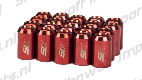 SIX Performance STEEL Lug Nuts 32mm 12x1.50 Red V4 20x