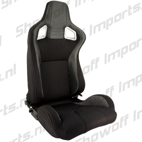 SPL Adjustable Racing Seat Model RS6 Black/Silver Fabric