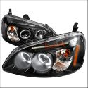 Honda Civic 01-03 2D Dual Halo Projector Headlights Black