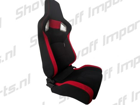 SPL Adjustable Racing Seat Model RS6 V2 Black/Red Fabric