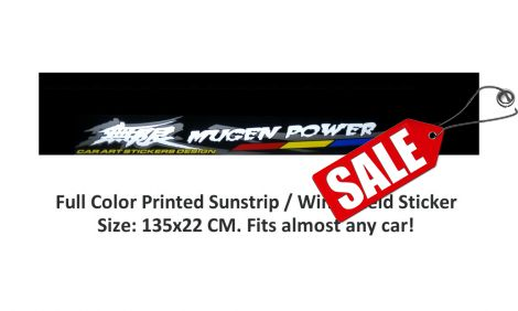 Black Windshield Sticker/Sunstrip 135x22cm incl Mugen Logo
