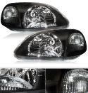 Honda Civic 96-98 Black Headlights Manual Adjustable +E-Mark