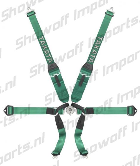 Takata Racing Harness FORMULA 6-Point Green Bolt-on HANS