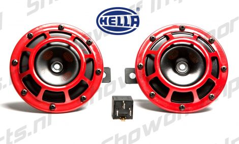 Hella Supertone Horn Kit RED 118dB Set of 2 incl Relay